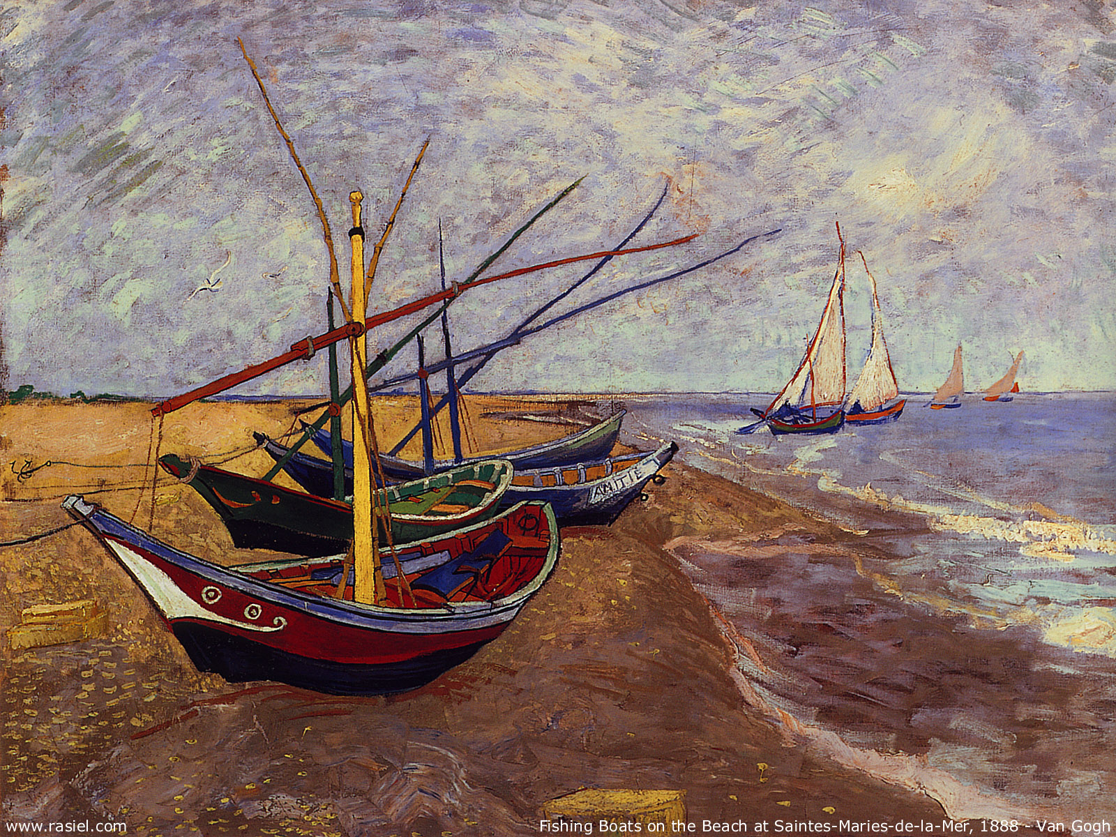 Fishing Boats on the Beach at Saintes-Maries, 1888 -Vincent van Gogh (1853–1890)