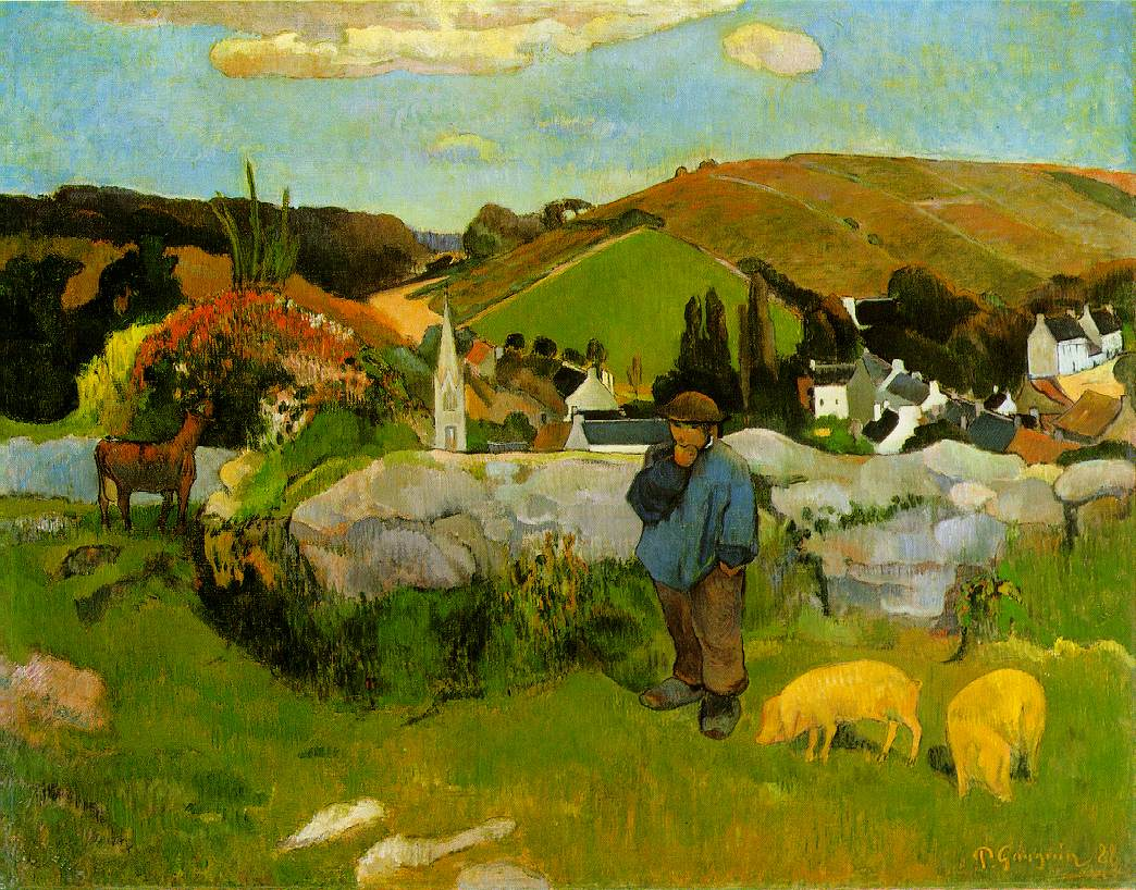 The Swineherd, Brittany, by Paul Gauguin, 1888 – Paul Gauguin (1848–1903)