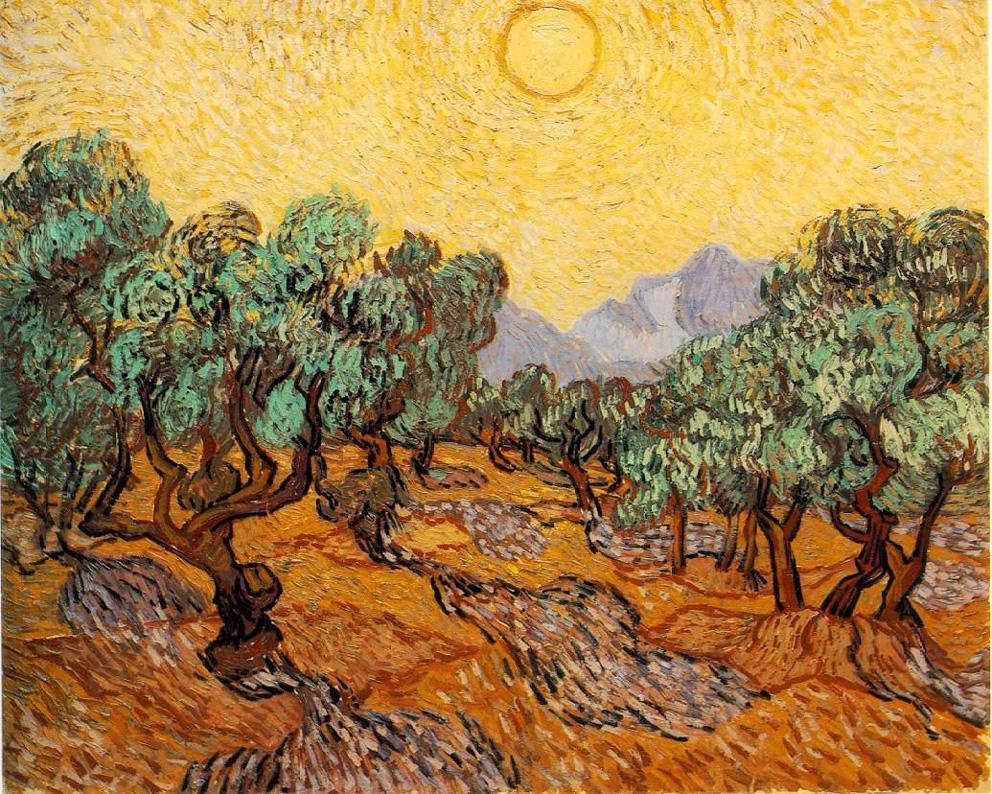 Olive Trees With Yellow Sky And Sun, Vincent van Gogh (1889)